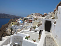 Romantic beautiful cityscape and blue sky of Oia on Santorini in Royalty Free Stock Image