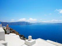 Romantic beautiful cityscape and blue sky of Oia on Santorini in Stock Photos