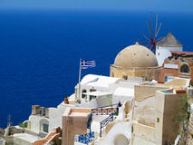 Romantic beautiful cityscape and blue sky of Oia on Santorini in Stock Photo