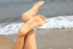Romantic Beautiful foot girl and sea nature Stock Images