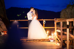 Romantic beautiful luxurious wedding ceremony with candles of ha Royalty Free Stock Image