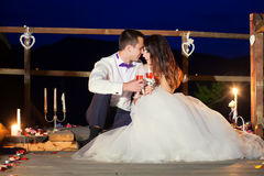 Romantic beautiful luxurious wedding ceremony with candles of ha Royalty Free Stock Photos