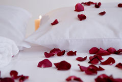 Romantic Beautiful red Petals on white cushions with white towels Royalty Free Stock Photography