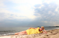 Romantic Beautiful smiling girl yellow dress Stock Images