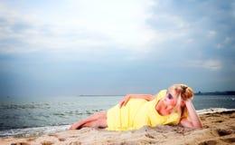 Romantic Beautiful smiling girl yellow dress Royalty Free Stock Images