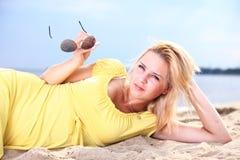 Romantic Beautiful smiling girl yellow dress Stock Photos