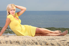 Romantic Beautiful smiling girl yellow dress Royalty Free Stock Image