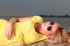 Romantic Beautiful smiling girl yellow dress Stock Photography