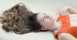 Romantic beautiful young girl with gorgeous hair Stock Photography