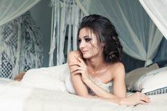 Romantic Beauty. Beautiful Artistic Woman Fashion Model Stock Photo