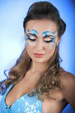 Romantic Beauty in blue with Carnival mask Royalty Free Stock Images