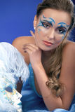 Romantic Beauty in blue with Carnival mask Royalty Free Stock Image