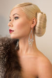 Romantic beauty fashion woman with red lips and fur. Romantic beauty fashion woman with red lips and retro hairstyle Royalty Free Stock Photography
