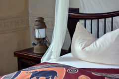 Romantic bedroom. On a african resort stock images