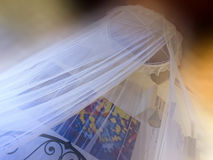 Romantic bedroom with mosquito net Royalty Free Stock Photo