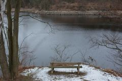Romantic bench in nature, St. Valentine`s Day Stock Image
