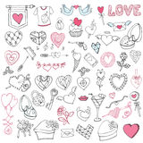 Romantic big bundle.Hand drawing Valentine,wedding. Frame decor set.Love icons,sign elements collection Stock Photography