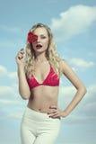 Romantic bikini woman Stock Photography