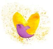 Romantic bird. Romantic colorful handmade painted  design Stock Image