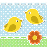 Romantic birds with flower. Romantic background with birds and flower. Editable vector illustration Stock Images