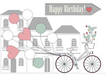 Romantic Birthday card with bicycle, balloons and flowers Stock Image