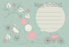 Romantic Birthday card with cute bicycles, balloons and flowers vector illustration