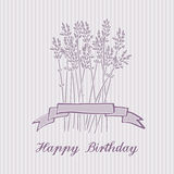 Romantic birthday card with lavender bouquet, invitation,  Stock Photography
