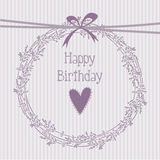 Romantic birthday card with lavender wreath Stock Photo