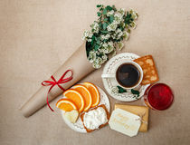 Romantic Birthday Healthy Breakfast.Cup of Coffee,Cut Orange,Bis Royalty Free Stock Photos