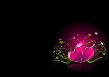 Romantic black Background with hearts Stock Photos
