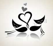 Romantic black cats Stock Image