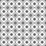 Romantic Black And White Monochrome Flowers Graphic Pattern Stock Image
