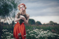 Romantic blond woman Royalty Free Stock Images