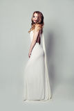 Romantic Blonde Beauty in White Dress Royalty Free Stock Images