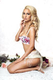 Romantic blonde woman in lingerie. Stock Images