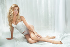 Romantic blonde woman posing Stock Photos