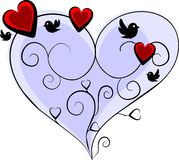 Romantic blue heart. With three red hearts and four birds - love vector illustration Royalty Free Stock Images