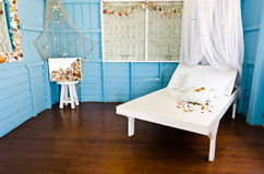 Romantic blue room Royalty Free Stock Photos