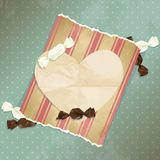 Romantic blue vintage illustration with candies Stock Image