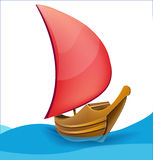 Romantic boat with red sail Stock Photos