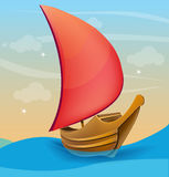 Romantic boat with red sail on a sunset background Stock Photography