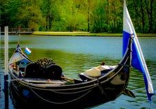 Romantic boat on the Rhein river royalty free stock image