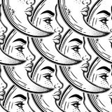 Romantic bohemian crescent moon seamless pattern. Romantic bohemian crescent moon as a beautiful woman face linear style with dotwork seamless pattern. Alchemy Royalty Free Stock Images