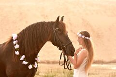 Free Romantic Bond Between Horse And Rider Stock Image - 181368581