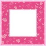 Valentines border-13. Romantic border with hearts. Valentines Day illustration. Design element for photo frame and romantic decorations royalty free illustration