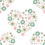 Romantic botanical floral heart pattern Royalty Free Stock Photo
