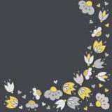 Romantic botanical greeting card on dark Stock Images