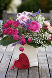 Romantic bouquet with pink roses Royalty Free Stock Photos