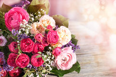 Romantic bouquet with pink roses Stock Images