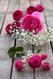 Romantic bouquet with pink roses Stock Photos